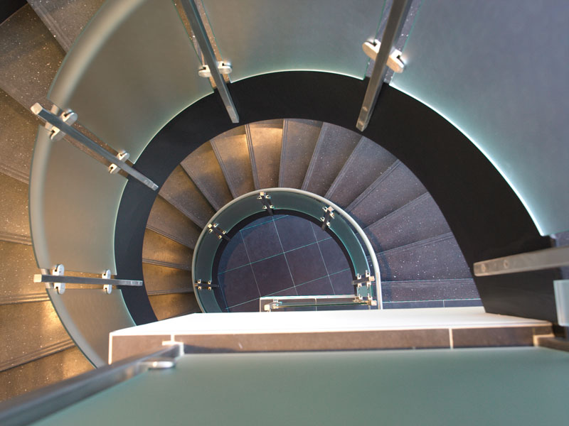 Sanofi Circular Stair with Stainless and Glass Railing